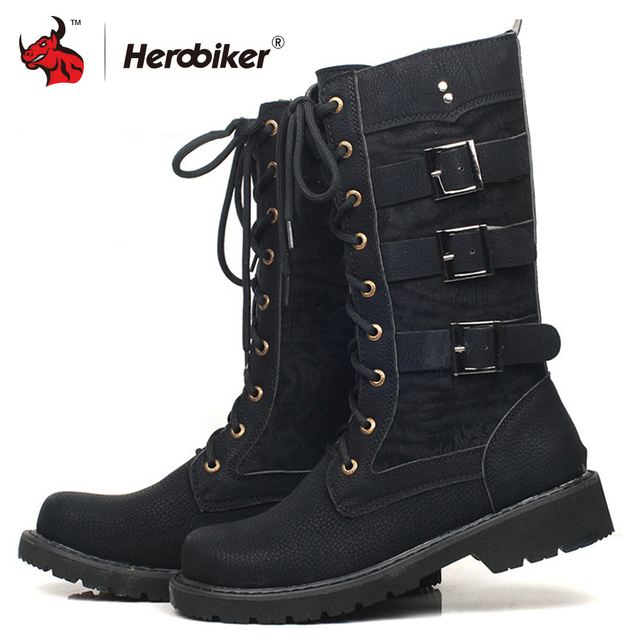 d708534ada0853 HEROBIKER Motorcycle Boots Men Motocross Boots Moto Protective Shoes Retro  Artificial Leather Motorbike Riding Boots Accessories