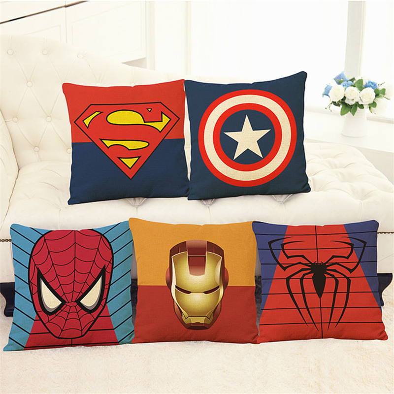 Funda de almohada Super Heroes Cushion Funda de almohada Superman, Spider Man, hierro, American flash home club oficina silla asiento niños regalo