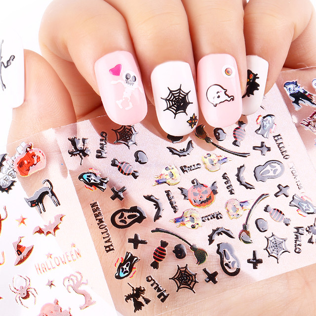Online shop 24 sheet halloween design beauty nail art nails 24 sheet halloween design beauty nail art nails stickers adhesive transfer 3d skull pumpkin stickers decals for tips top quality prinsesfo Images