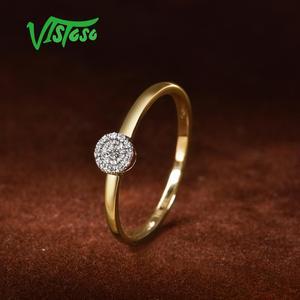 Image 4 - VISTOSO Puro 14K 585 Oro Giallo Diamante Scintillante Delicato Rotonda Cirle Anello Per Le Donne Anniversario Trendy Gioielleria Raffinata