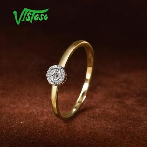 Image 4 - VISTOSO anillo de oro espumoso con diamante redondo para mujer, sortija de 14 quilates, 14K, 585, color amarillo, delicado de moda, aniversario