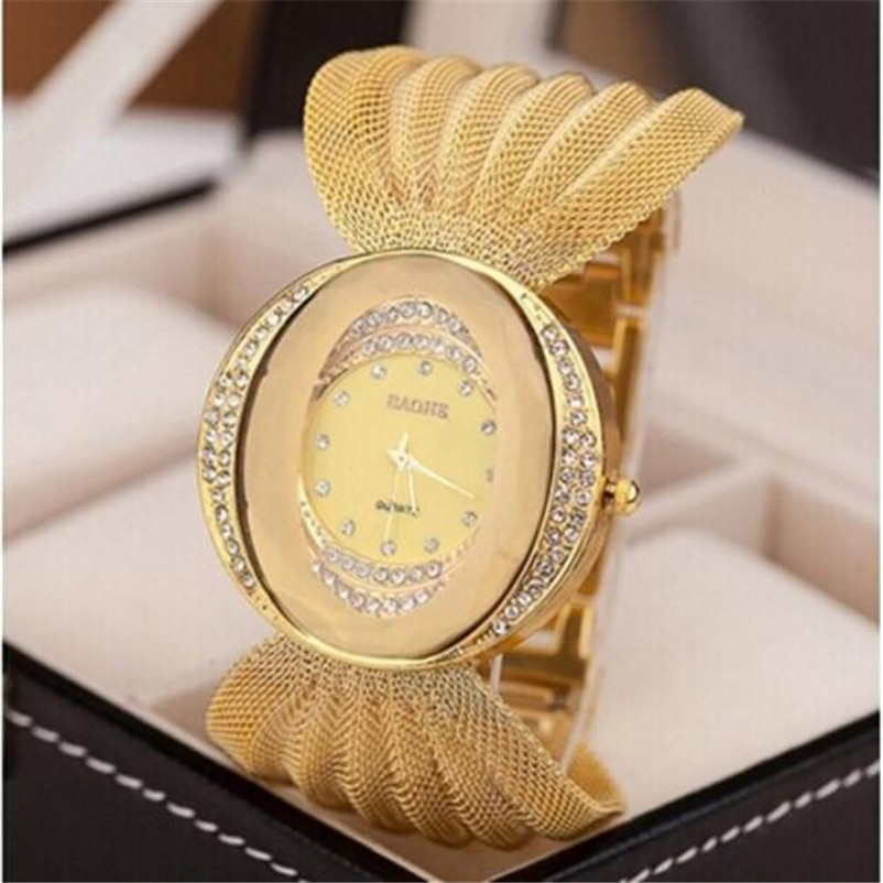 Women Clock Watch Elegant Feminino Luxury Bracelet New-Fashion Famous-Brand Gold Quartz
