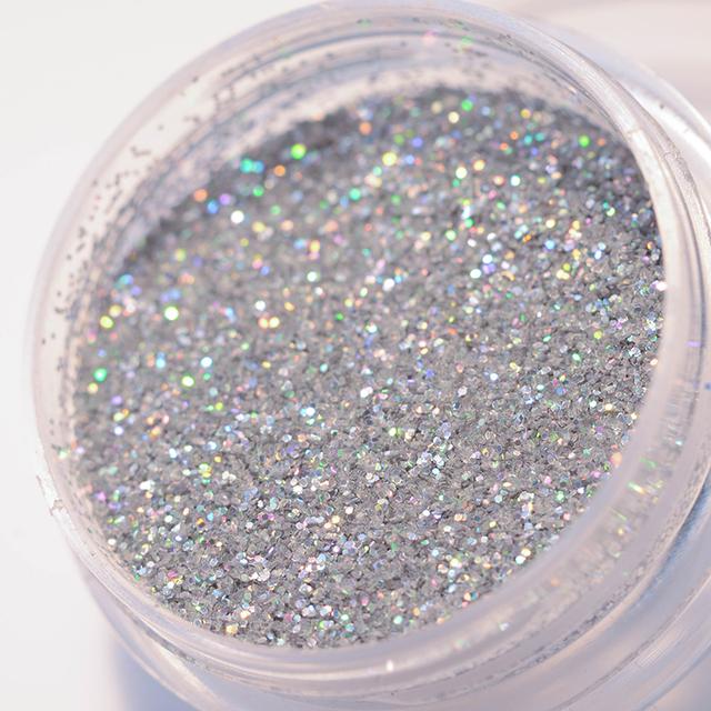 Nail Glitter Powder Silver Holographic