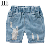 HE Hello Enjoy Girl Shorts kids Summer Jeans Casual Ripped Design Jeans Children s Shorts For
