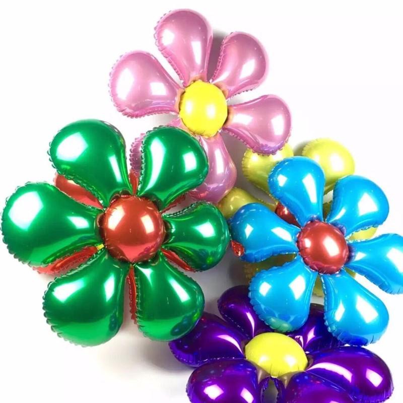 nuevas flores de la llegada de aluminio globos de la hoja feliz cumpleaos de la