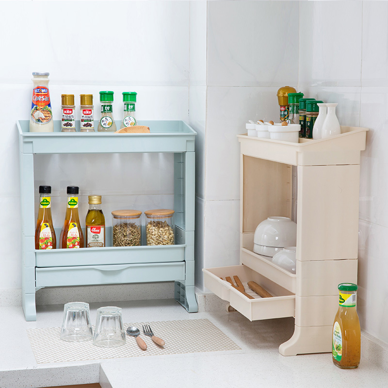 Double drawer dressing rack kitchen seasoning shelf Dressing a kitchen