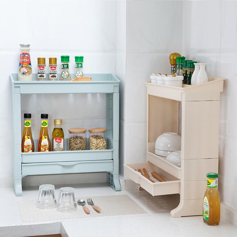 Double Drawer Dressing Rack Kitchen Seasoning Shelf