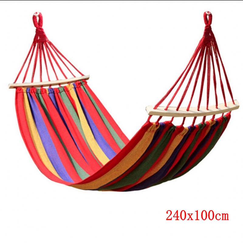 240x100CM Canvas Camping Hammock Wooden Stick Prevent Rollover Hammocks Bar Garden Camping Swing Hanging For Fat Strong Person