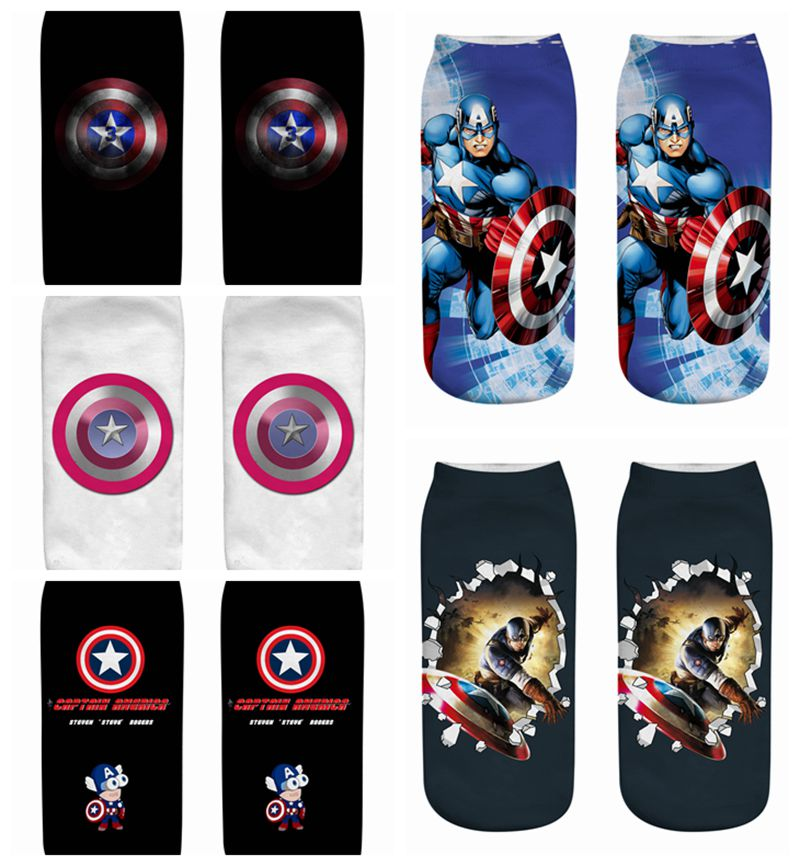 New Arrival Cartoon Children Short Socks Super Hero Boys Traight Kids Captain America Iron Man Adult Boat Cartoon Avenger Socks