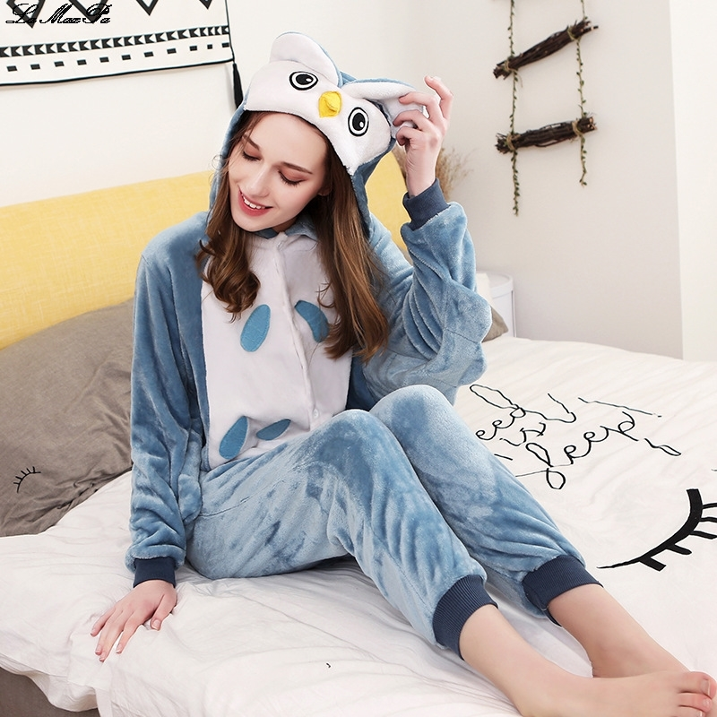 New Owl Kigurumi Onesie Adult Women Animal Pajamas Suit Yellow Tiger Flannel Warm Soft Sleepwear Onepiece Winter Jumpsuit Pijama