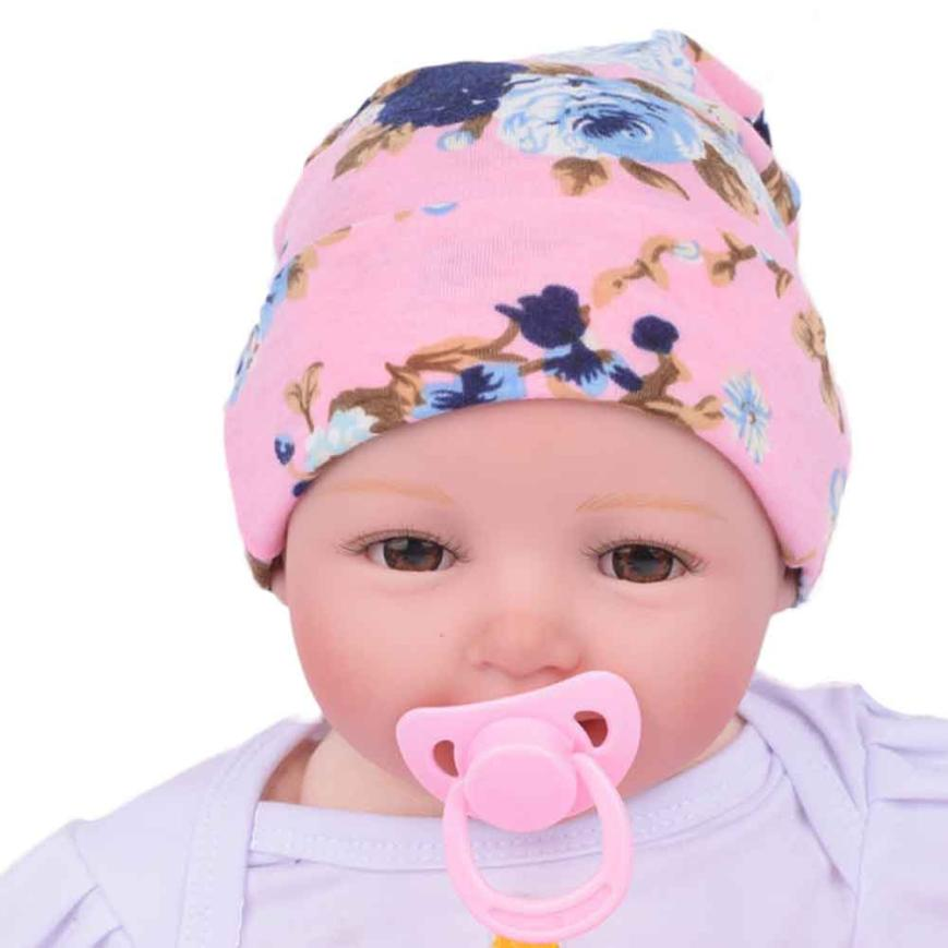 NEW 2017 baby caps cotton Hospital Hat Newborn Baby Hats With Flower Hat Baby Beanie Baby Cap Casquette Enfant LKD89