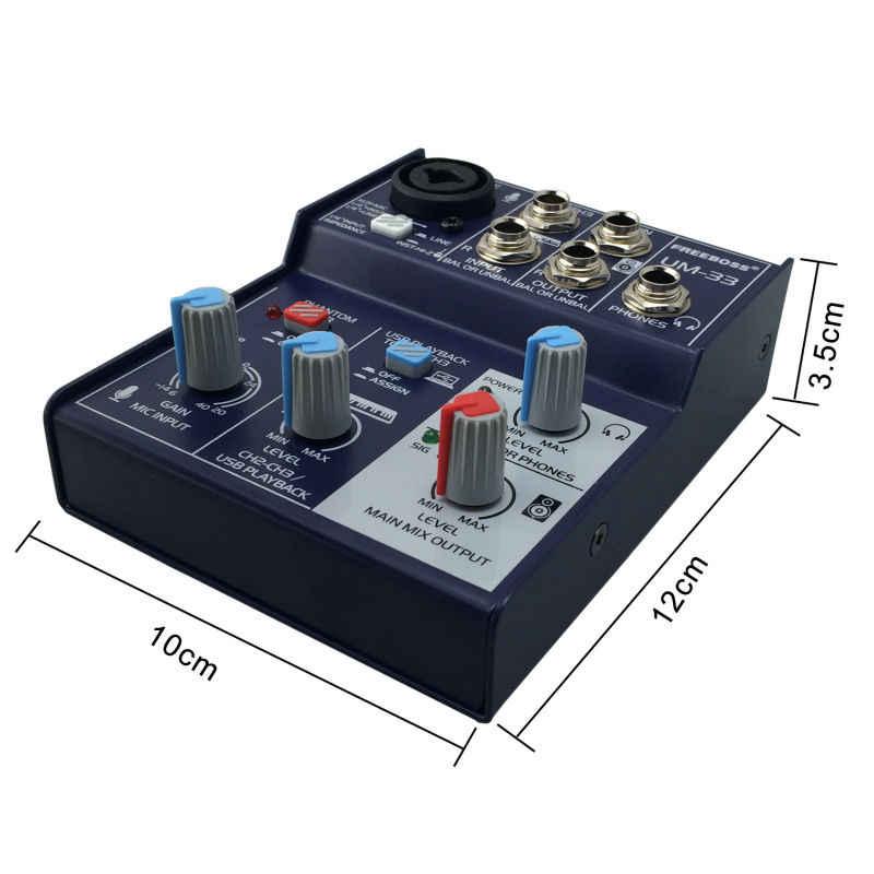 Freeboss UM-33 3 Kanäle Eingang Mic Linie Einfügen Stereo USB Wiedergabe USB Interface Audio Mixer