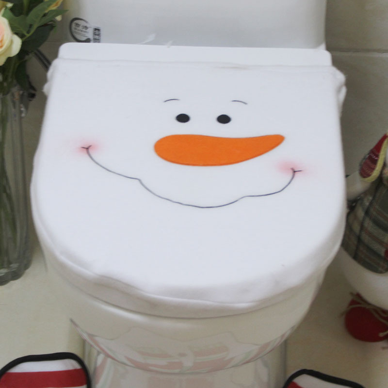 3pc Set Christmas SnowmanToilet Seat Cover Toilet Sets Decorations Bath Mat Holder Closestool Lid CoverNavidad In Covers From
