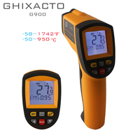 GHIXACTO Digital Pyrometer IR Infrared Thermometer 50~900C 58~1652F Non Contact Electronic Temperature Meter Point Gun GM900