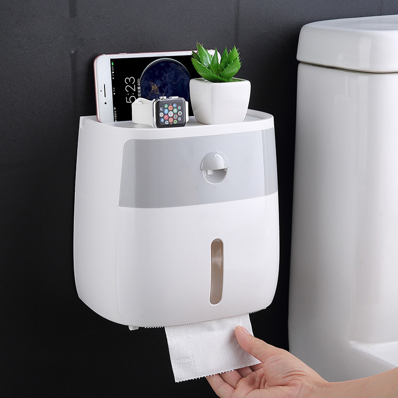 Toilet Paper Holder Wall Mounted Paper Tissue Dispenser Multi-function Plastic Bath Toilet Paper Holder Storage Box Toilet