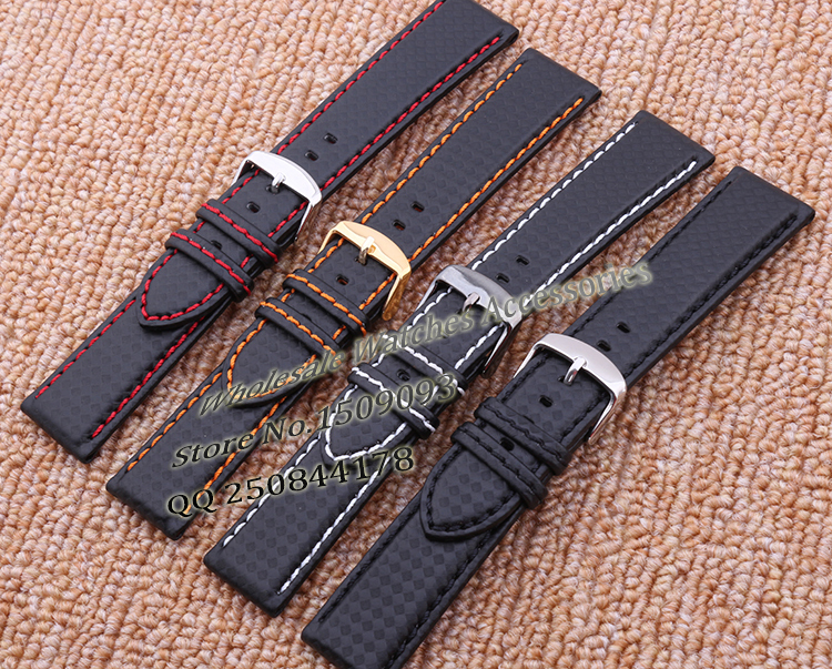 Carbon fiber fabric Watch straps Accessories High quality leather watchband for sports watches light racing watch bracelet Hot hot selling high quality new arrival genuine leather watchband carbon fiber straps 22mm with stainless steel buckle