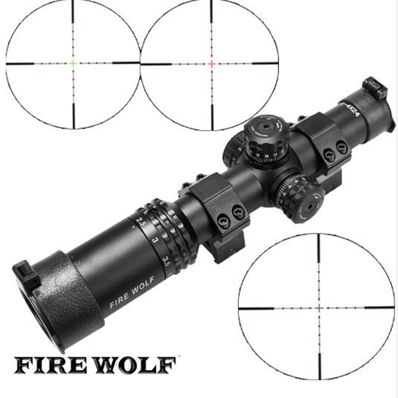 FIRE WOLF Silver Font Black Sight 1-4X24 Riflescopes Rifle Scope Hunting Scope W/ Mounts 2017 new fire wolf 4 5 14x42 sf b riflescopes rifle scope hunting scope fits for 11mm 20mm rail free shipping