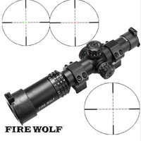 FIRE WOLF Silver Font Black Sight 1 4X24 Riflescopes Rifle Scope Hunting Scope W/ Mounts