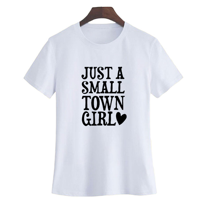 Tumblr Summer Fashion Southern Womens Funny Country Saying T shirt Black  White Letters Graphic Tee Shirt Just A Small Town Girl-in T-Shirts from  Women s ... 305ee878db4b