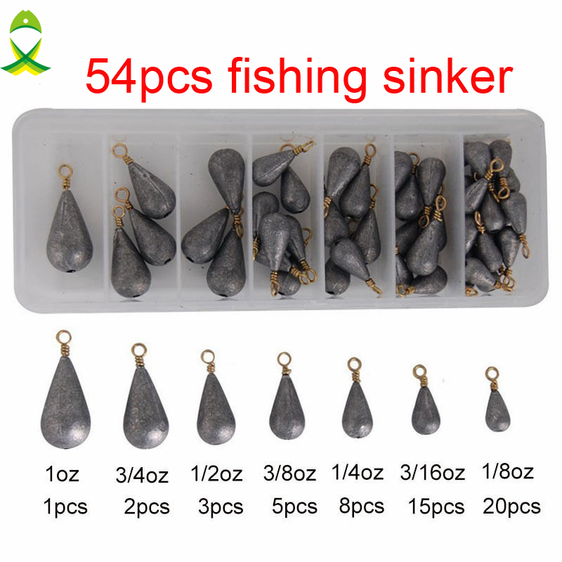 JSM 54pcs Lead Fishing Sinker With Ring Carp Fishing Water Drop Shaped Weights Bass Casting Sinkers Set With Box