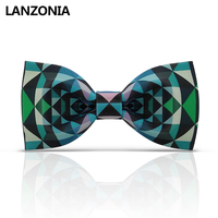 Lanzonia Funny Green Plaid Patterned Bow Tie For Men Designer Unique Neckwear Women Novelty Different Types Of Bowtie