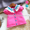 new 2014 spring autumn baby clothing Fashion princess outerwear girls short-sleeve sweater cardigan all-match knitted sweater