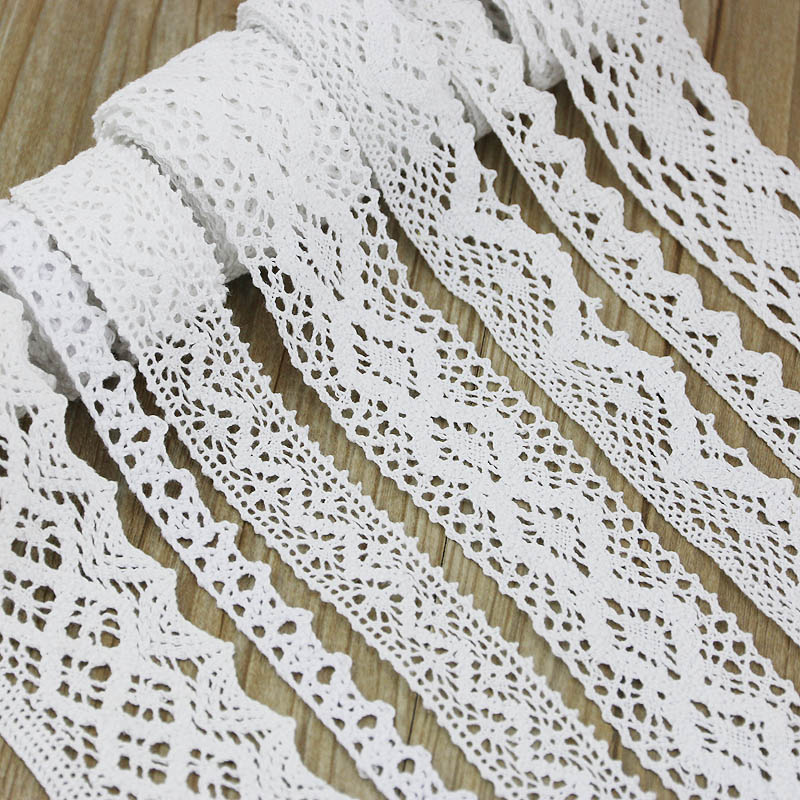 (5Meter/roll) White Cotton Embroidered Lace    Net  Ribbons Fabric Trim DIY Decorate Sewing Handmade Craft Materials