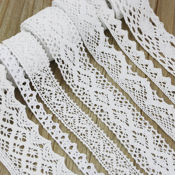 (5Meter/roll) White Cotton Embroidered Lace    Net  Ribbons Fabric Trim DIY decorate Sewing Handmade Craft Materials 1 pairs organza embroidered wings lace embroidery patches diy lace collar neckline decorate sewing craft supplies patches white