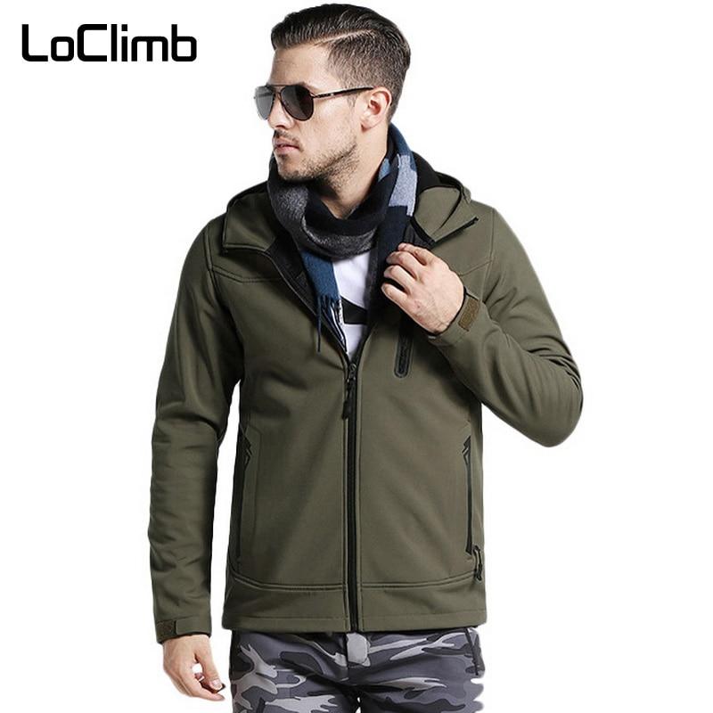 loclimb camuflagem dos homens caminhadas ao ar livre jaqueta softshell dos homens de la quente casacos