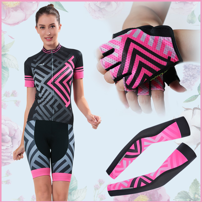 2017 Hot Selling Cheji Womens Pro Cycling Jersey Set Breathable Fit Pink Printing High Quality Cycling Clothing Bike Equipments