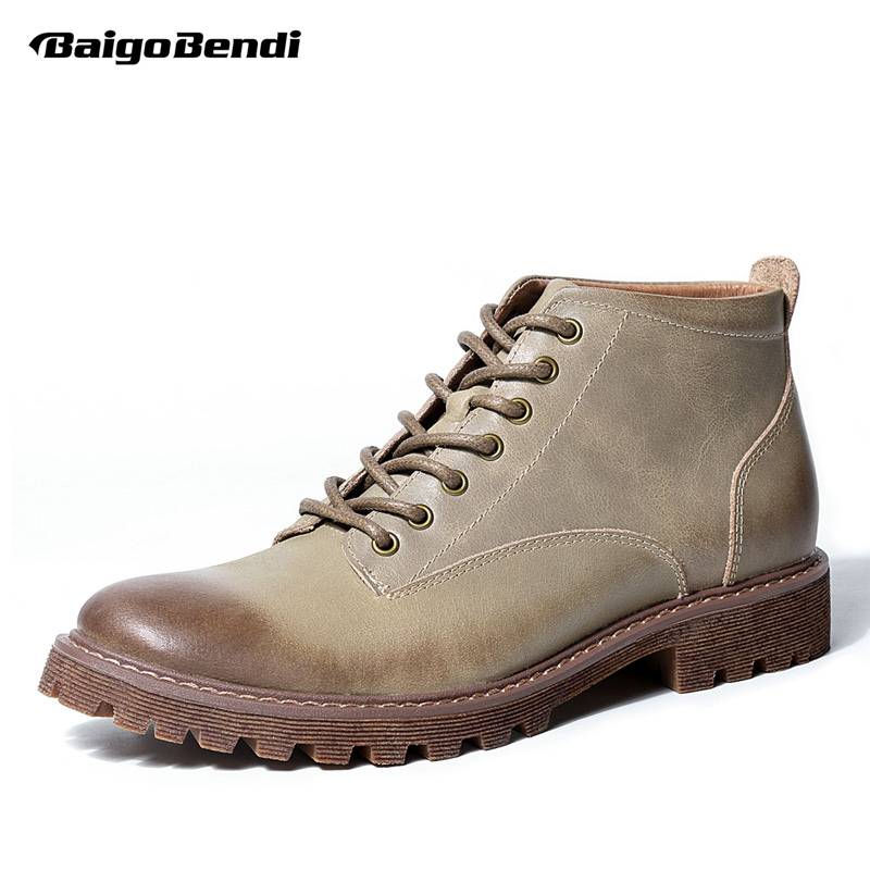 Hot Genuine Leather Mens Martin Boots Lace Up Round Toe Work Safety Soliders Ridding Boots Winter  Shoes Casual Oxfords
