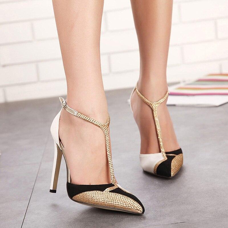 מדד המחירים לצרכן האביב ניו ריינסטון עקבים גבוהים נשים משאבות פגיון מחודד סקסיים טלאי צבע תמהיל מותג עקבים נעלי שמלת זהב EE-197