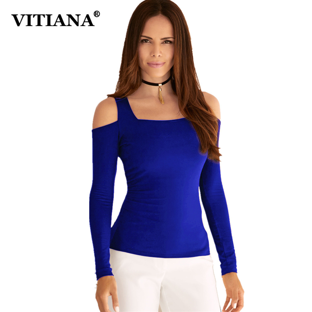 VITIANA Women Casual T-shirt Female 2018 Summer Long Sleeve Off Shoulder Blue Pink Solid Color Hot Tops Tee Elegant T Shirts