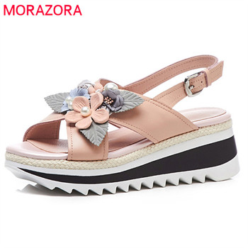 MORAZORA 2018 genuine leather sweet flowers summer shoes simple buckle fashion platform shoes party wedding wedges shoes woman