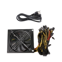 US Plug 1600W ATX Power Supply 14cm Fan Set For Eth Rig Ethereum Coin Miner L059