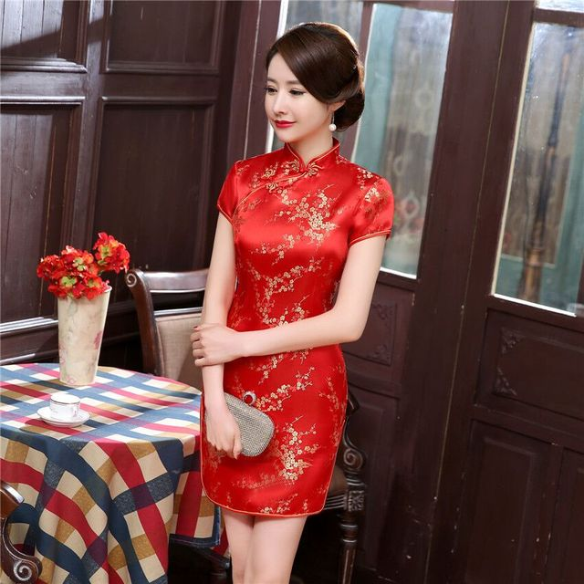 Burgundy #Traditional #Chinese Style #Cheongsam Women's Mini #Qipao #Dress #fashion #boygrl 2