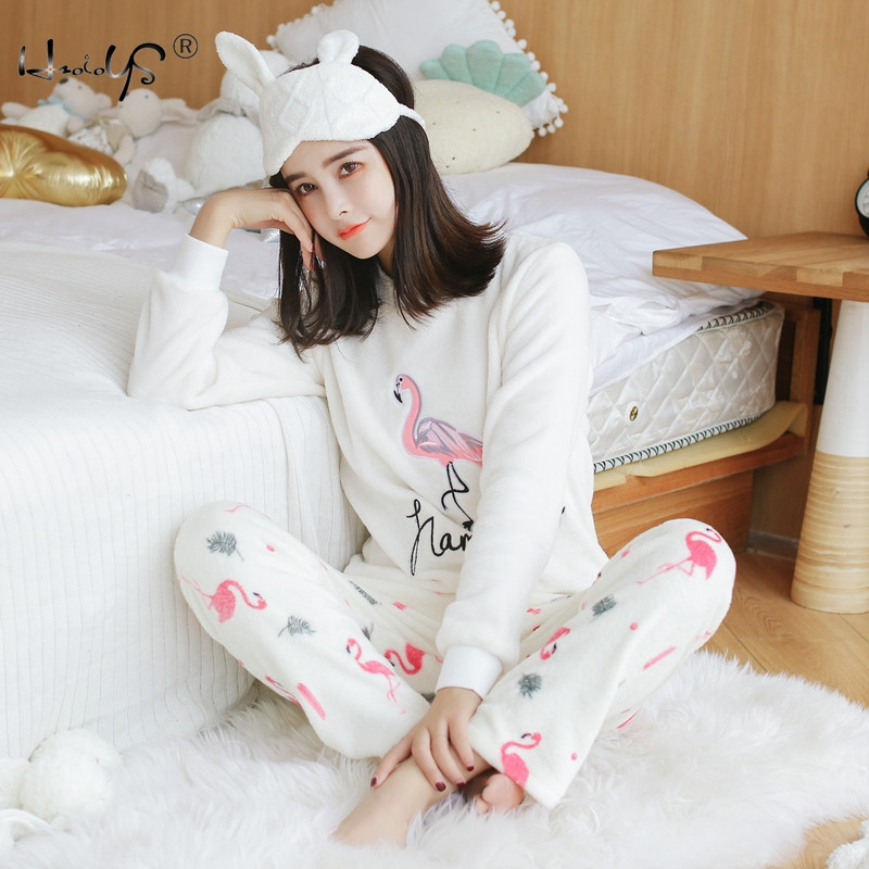 Women Winter   Pajamas     Set   Flannel Tops and Pant Two Piece Pyjamas   Sets   Sleepwear Cartoon Animal Warm Coral Velvet Women's Suit
