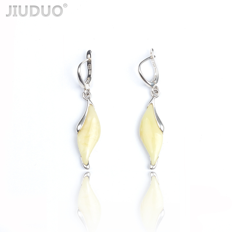 JIUDUO Yellow Amber Water Drop Earrings 925 Sterling Silver Ethnic Fine Jewelry Earrings For Women pair of chic rhinestoned water drop earrings for women