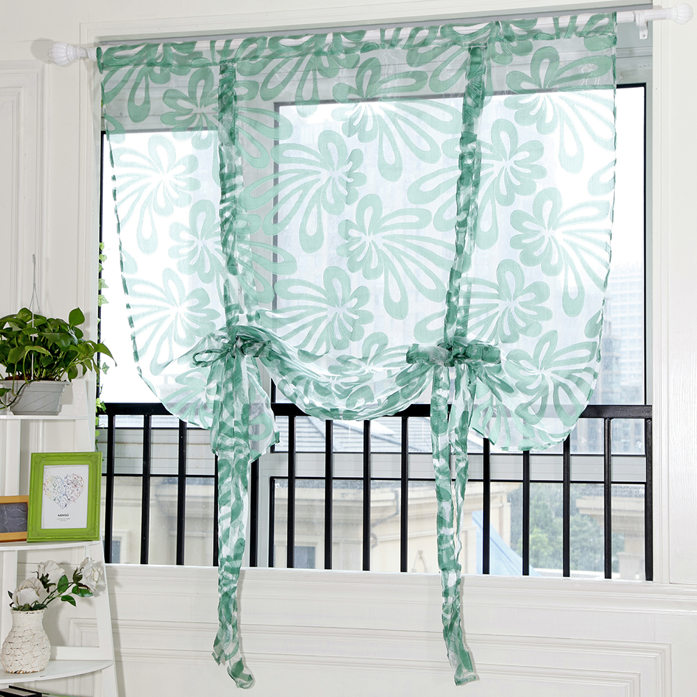 buy floral window voile door curtain for living room tulle short curtains for. Black Bedroom Furniture Sets. Home Design Ideas