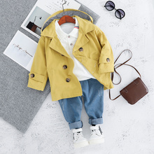 Children Toddler 3PCS Clothes Set  Trench + T shirt + Jeans Long Sleeve Outerwear Coats Boy Girl Clothing 1 2 3 4 Years