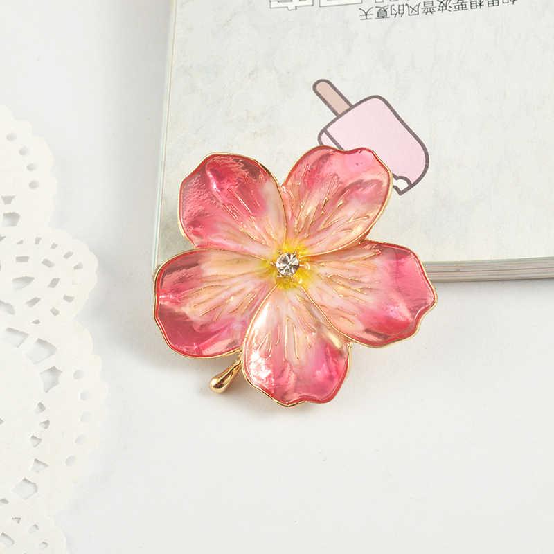 Mzc 2019 Lucky Pink Enamel Bunga Bros Wanita Jilbab Pin Korsase Bros untuk Wanita Pernikahan Gaun Lencana Aksesoris Perhiasan