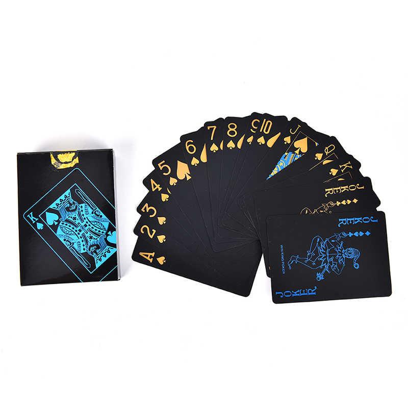 55 Teile/satz Kreative Geschenk Durable Poker Kunststoff PVC Poker Wasserdicht Schwarz Spielkarten Großhandel