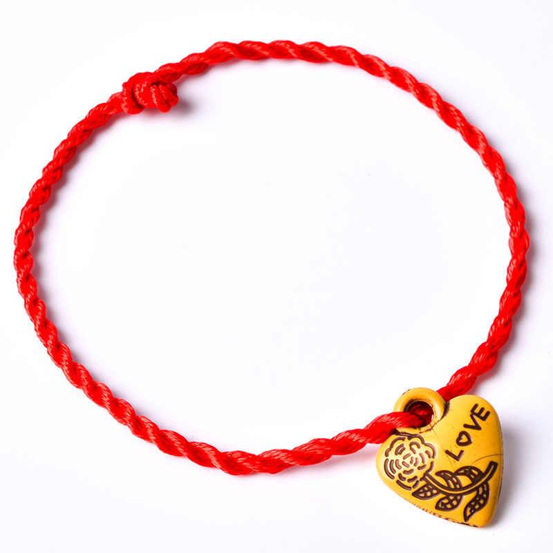 1 ADET Sıcak Kadınlar Kızlar Çin Düğüm Kalp Yaprak Halat Zincir Şanslı Charm Iyi kırmızı halat Bilezik Hayvan Kolye Takı Hediye