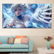 Canvas Painting Poster Modular 1 Set Sexy Snow Girl Wall Art Fashion Home Decoration HD Animation Hang Picture Background Print(China)