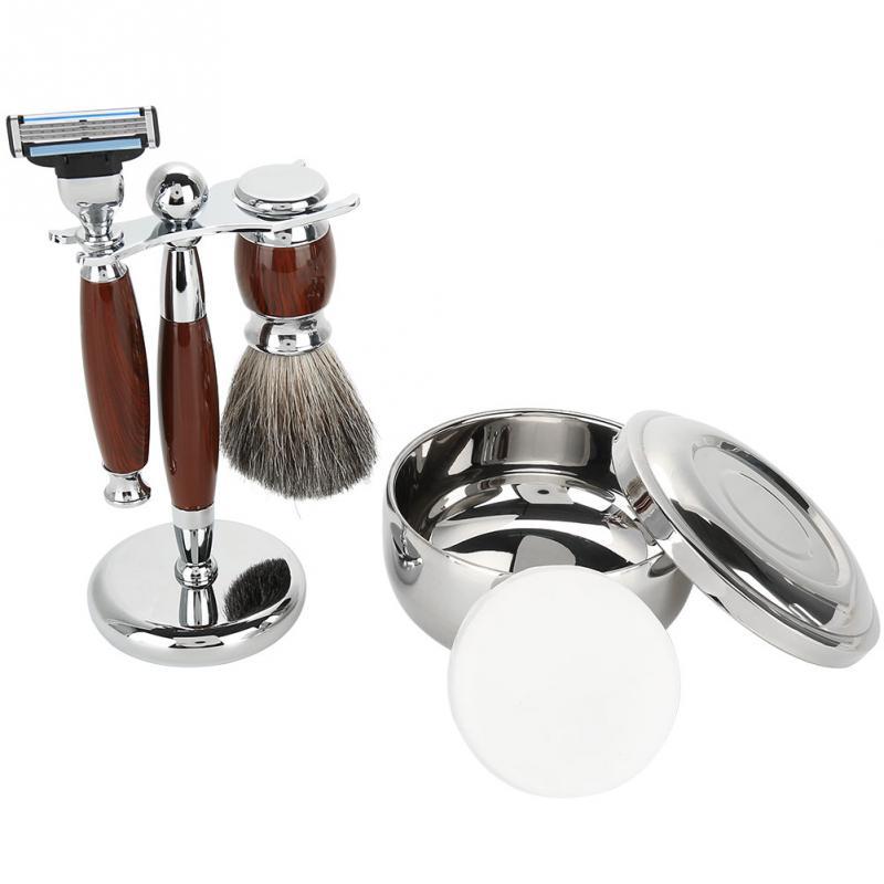 Men Beard Shaving Set Safety Brush Bowl Soap Stand Hair Shaving Brush Shaving Soap Bowl Cleaning