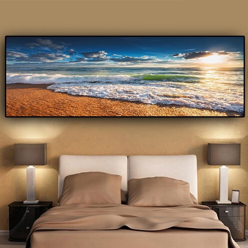 Carteles e impresiones de paisaje de puesta de sol en la playa de oro Natural pintura en lienzo imagen de arte de pared mediterranea escandinava para sala de estar