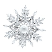 Luxurious Cubic Zirconia Pearl Bride Wedding Flower Corsage Snowflake Brooch Pin Broach 00120183(China)