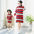 Family Clothing Mother Daughter Dresses for Girl Autumn Long Sleeve Cotton Sweater Dress Mom Daughter Matching Dress Family Look