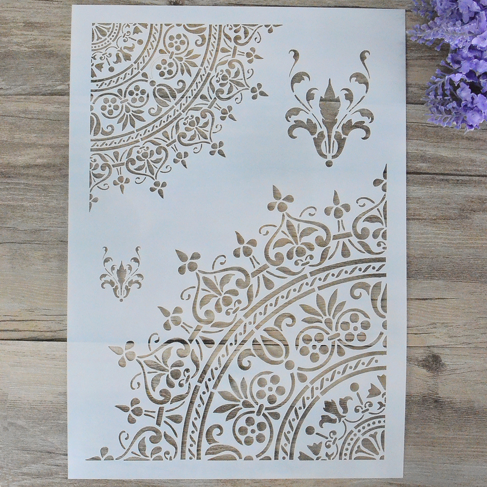 handmade parchment craft card A5 Card rigid floral cutout FAN S2 red tassel