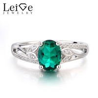 Leige Jewelry Emerald Ring Promise Ring May Birthstone Oval Cut Green Gemstone Solid 925 Sterling Silver